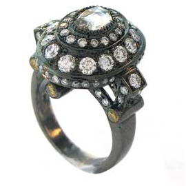 Sethi Couture Black Diamond and Black Rhodium Ring