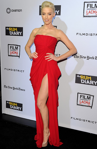 Amber Heard in Elie Saab | 'The Rum Diary' LA Premiere