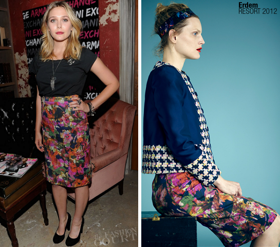 Elizabeth Olsen in Erdem | NYLON & AX Armani Exchange October Issue Private Dinner