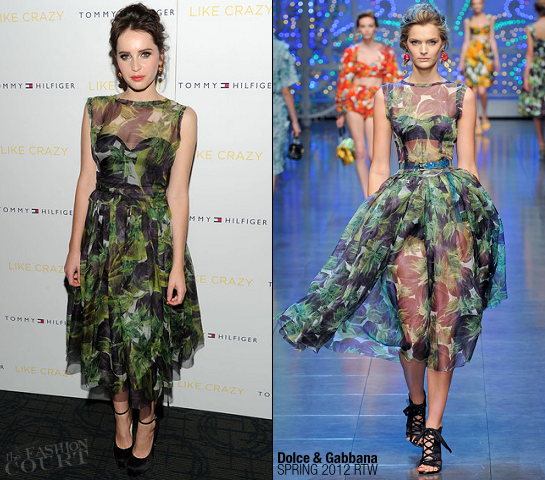 Felicity Jones in Dolce & Gabbana | 'Like Crazy' NY Premiere